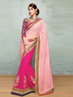 Light Pink And Dark Pink Georgette Saree With Resham And Zari Embroidery Work www.saree.com