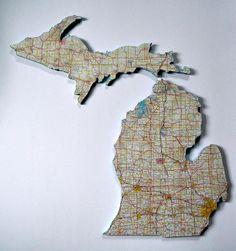 MICHIGAN Vintage State Map Wall Art (Medium Size)  $70.00