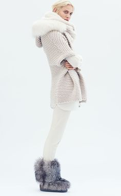 Cozy in Brunello Cucinelli Fox Fur Trimmed Hooded Cashmere Poncho, Ribbed Layered Turtleneck Tunic & Side-Zip Stretch Leather Leggings