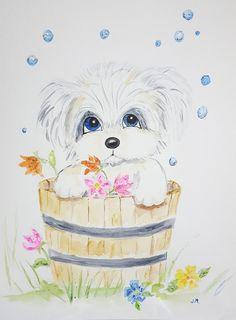 Watercolour, original painting, dog, hand painted, baby shower gift, aquarelle, kids room, illustration, chambre d'enfants, artwork, unique de la boutique Jamurilloarts sur Etsy