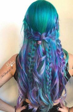 Green blue purple hair