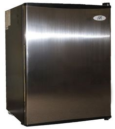 Flush back, compact design is ideal for college dorm room or office, perfect for counter-top placement. Reversible doors offer versatility. Features tall bottle door rack, separate ice maker chamber and adjustable thermostat