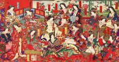 大奥に奉公する女中の出世がテーマになった双六。大奥女中は江戸時代の女性たちあこがれの職業でした(『奥奉公出世双六(おくぼうこうしゅっせすごろく)』) (1200×630)
