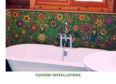 Mosaic around the tub...fantastic. Custom design by Clare Dohna.
