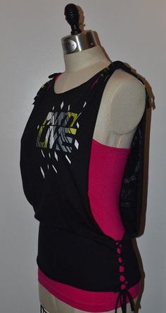 Open Side Lace Up Beaded Zumba Tank Top  Cut Slashed by BlueAmberLLC, $25.00