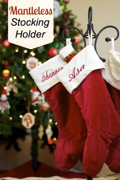 Mantleless Stocking Holder- Use a fireplace tool holder! DIY Stocking Holder - no mantle stocking holder