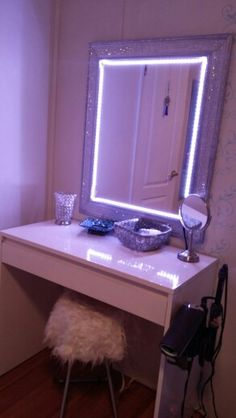 Ikea Malm Dressing Table Hack..Sauder Square 1 desk painted white, mirror sprayed chrome and blinged with rhinestones and LED lights = Ikea Malm Hollywood Dressing table.