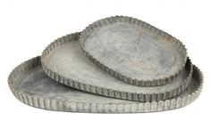 """Zinc oval trays, available in 3 sizes small: 6.5""""W x 4.25""""D x .5""""H medium: 8.75""""W x 5.5""""D x .5""""H large: 10""""W x 6.5""""D x .5""""H zinc with fluted edges"""