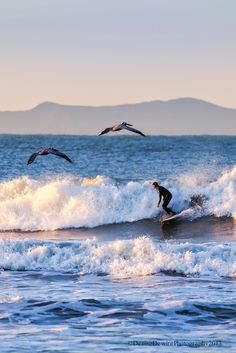 Early morning in Ventura, California, with Channel Islands National Park in the background.  Surfing in the Sky by Denise Dewire