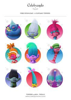 Trolls Cupcakes Toppers - Celebrando Fiestas Free download - ¡Descarga Gratis!