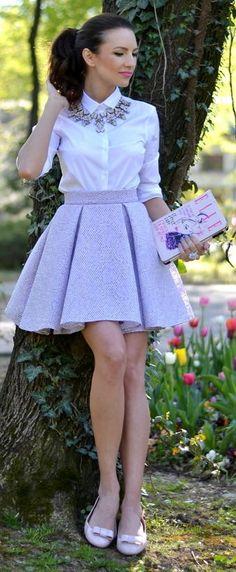 Lilac Box Pleat Midi Skirt Outfit Idea by My Silk Fairytale // I reaaaaaally like the skirt Midi Rock Outfit, Midi Skirt Outfit, Skirt Outfits, Dress Skirt, Box Pleat Skirt, Pleated Midi Skirt, Skater Skirt, Lila Rock, Moda Chic