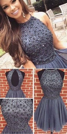 New Arrival gray Prom Dresses Sexy Open Back grey sweet 16 gowns grey Short Homecoming Dress with pearls