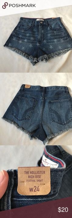 Hollister High Rise Festival Star Jean Shorts High rise jean shorts. Has small stars on the front side in white/light blue denim color. Has frayed bottom on the hem. Never used, tag still attached. Hollister Shorts Jean Shorts