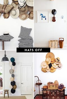 Decorate with Vintage hats... Or just a place to put all the hats you wear with a cool aesthetic via sfgirlbybay.com blog My Hats Off To You