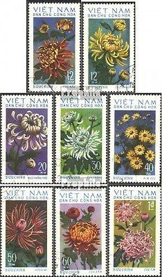 Vietnam 763-770 (complete issue) used 1974 Chrysanthemums