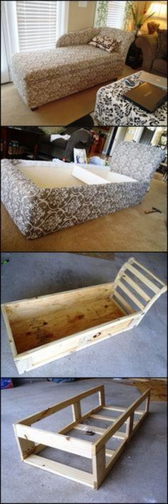 DIY Sofas and Couches - DIY Chaise Lounge With Storage - Easy and Creative Furniture and Home Decor Ideas - Make Your Own Sofa or Couch on A Budget - Makeover Your Current Couch With Slipcovers, Painting and More. Step by Step Tutorials and Instructions Pallet Furniture, Furniture Projects, Furniture Making, Furniture Makeover, Home Projects, Refurbished Furniture, Bedroom Furniture, Furniture Design, Sofa Makeover
