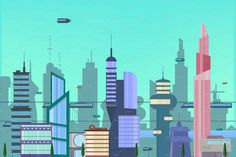 The city of the future in a flat style. Urban landscape with modern buildings and futuristic traffic. Future Buildings, Modern Buildings, City Vector, Vector Art, Robots For Kids, Art For Kids, City Drawing, Futuristic City, City Illustration