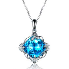 Beautiful 5.6ct Natural Blue Topaz in 18K Gold Pendant by CHARMES Jewellery