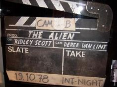 Alien slate. October 19th, 1978: two days before the end of principal photography