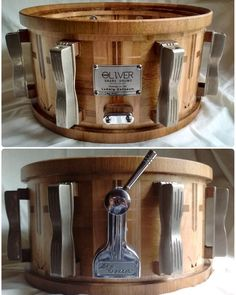 "Finally completed my tribute to the Ludwig Coliseum.  13""X6.75"" w/a 11"" interior diameter. Thin shell at 3/8"" thick flaring out to large oak external reinforcement rings.  50's era nickel plated Ludwig bass drum lugs and chrome plated Ludwig Classic throw.  Antique oak & pine sugar maple hickory and black walnut. All individual pieces of wood -- no inlays.  This drum has been left intentionally on the unpolished side. The nickel retains its patina and the shell has been built and designed…"