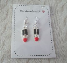 silver plated hooks RED LIPSTICK EARRINGS on a card * fab GIFT * retro burlesque