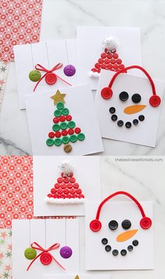 BUTTON CHRISTMAS CARDS - - Make these fun and easy Christmas Button Cards with only a few supplies! Make a snowman, Santa hat, Christmas tree or ornament card! Button Christmas Cards, Christmas Buttons, Christmas Card Crafts, Button Cards, Handmade Christmas, Holiday Crafts, Christmas Decorations, Christmas Ornaments, Christmas Tree