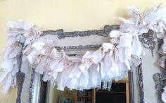 Embellished 5' Full Handmade Rag Garland/White & by TheJunkinGypsy, $58.99