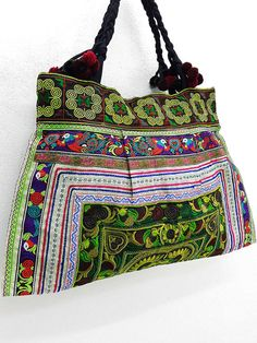 Thai Hill Tribe Bag Pom Pom Hmong Thai Bag Embroidered  bagsandpurses   EtsyMktgTool http  93c8653a34222