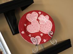 Heart themed DIY painted plate.  Good for valentines.