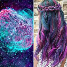 This Galaxy Hair Trend Is Out-Of-This-World ❤ liked on Polyvore featuring hair, hairstyles, hair styles, galaxy and filler
