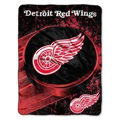 Detroit Red Wings Blanket 46x60 Raschel Ice Dash Design Rolled