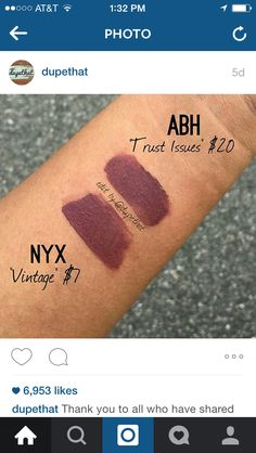 Nyx - Vintage; Dupe for Anastasia Beverly Hills liquid lipstick in Trust Issues. #lip #makeup #lipstick DUPETHAT