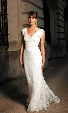 Elegant Lace V-neck Wedding Dress for Older Brides Over 40, 50, 60, 70. Elegant Second Wedding Dress Ideas.