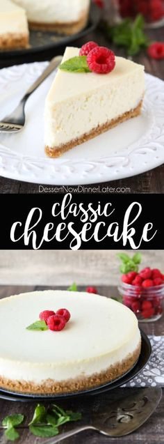 This Classic Cheesecake recipe is smooth, creamy, moist, and full of vanilla, with a graham cracker crust. Plus ALL the tips and tricks for the PERFECT cheesecake with NO CRACKS! Great for holidays or any occasion. #Thanksgiving #Christmas