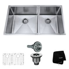 "Kraus Handmade 16-Gauge Double-Basin Undermount Stainless Steel Kitchen Sink $399.95. 32-3/4"" x 19""W x 10""H"