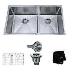 """Kraus Handmade 16-Gauge Double-Basin Undermount Stainless Steel Kitchen Sink $399.95. 32-3/4"""" x 19""""W x 10""""H"""