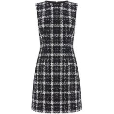 Warehouse Tweed Check Dress (£39) ❤ liked on Polyvore featuring dresses, sale women dresses, short-sleeve shift dresses, shift dress, tweed dress, short dresses and checkered dress