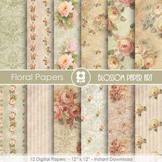 Rose Digital Paper, Floral Digital Paper Pack, Victorian Roses, Wedding, Scrapbooking, Roses, Pink VIntage Roses - INSTANT DOWNLOAD  - 1720