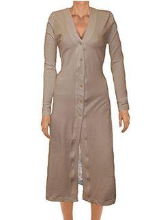 Ooh La La Jersey Knit Front Button Long Lightweight Cardigan Jacket (small 31-32, mocha)