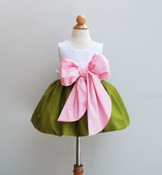 1st Birthday Dress - Flower Girls Dress - With Large Bow Bash - Wedding - Toddler Formal Dress -  KK Children Designs - 6M to 7 on Etsy, $80.00