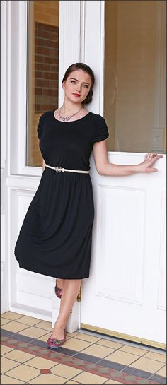 Mikarose Modest dress-The Monica, perfect modest little black dress