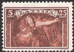 Latvia stamp 1932 showing national folk hero Lacplesis (bear slayer) about to deliver a well aimed spear.   Nice technique from which modern javelin throwers might learn a thing or two. AM
