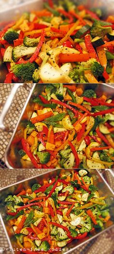 Karina's (Easy!) Roasted Vegetables on Broiled Polenta #glutenfree Gf Recipes, Vegetable Recipes, Healthy Recipes, Clean Recipes, Roasted Vegetable Pasta, Roasted Vegetables, Gluten Free Dinner, Gluten Free Cooking, Polenta Gluten