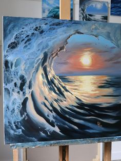 Xena glg ocean in 2019 watercolor art, acrylic art, painting. Cute Canvas Paintings, Acrylic Painting Canvas, Canvas Art, Wave Paintings, Sunset Paintings, Canvas Ideas, Aesthetic Painting, Sunset Art, Ocean Art