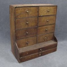 """SHAKER PINE HANGING 10 DRAWER SEED SAVER CABINET, 19TH CENTURY. HEIGHT 22; WIDTH 20"""""""