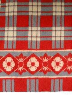 Vintage Camp Blanket Red and Gray Plaid Circa 1960s. $38.00, via Etsy.
