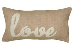 """One Kings Lane - All Things Holiday - """"Love"""" 11x21 Pillow, Beige"""
