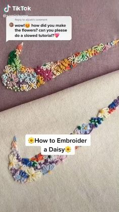 Diy Embroidery Patterns, Hand Embroidery Videos, Embroidery Stitches Tutorial, Embroidery On Clothes, Flower Embroidery Designs, Simple Embroidery, Hand Embroidery Patterns, Ideias Diy, Creations
