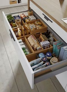 These ideas for DIY kitchen organization are brilliant! - HOME & DIY - k .These ideas for DIY kitchen organization are brilliant! - HOME & DIY - kitchen cabinetsClever Kitchen Storage Ideas. Clever Kitchen Storage, Kitchen Organization Pantry, Home Organisation, Kitchen Cabinet Organization, Kitchen Drawers, Storage Cabinets, Bathroom Storage, Organizing Ideas, Awesome Kitchen