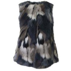 Armani Jeans Faux Fur Gilet ($275) ❤ liked on Polyvore featuring outerwear, vests, gilet vest, blue faux fur vest, faux fur gilet, faux fur gilet vest and colorful vest